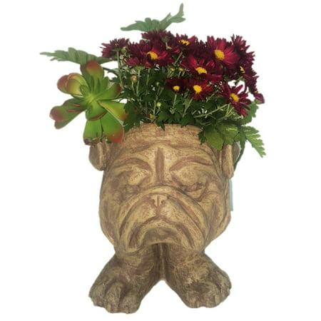 Homestyles Stone Wash Bulldog Muggly Mascot Animal Statue Humorous Planter Pot](Animal Planters)