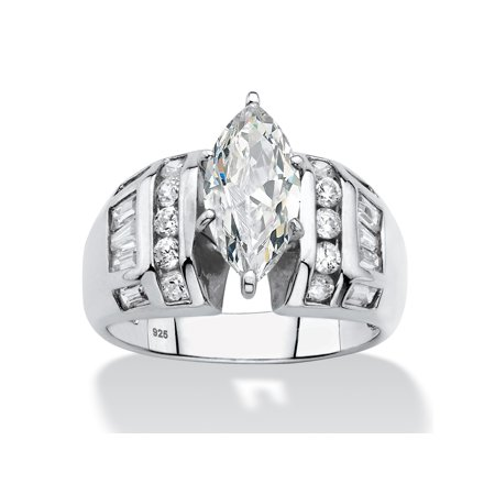 Marquise-Cut and Baguette Cubic Zirconia Engagement Ring 3.17 TCW in Platinum over Sterling Silver