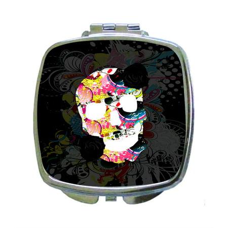 Floral Sugar Skull Kaleidescopic Flowers Print Design - Compact Square Face/Makeup Mirror - Sugar Skull Makeup Kids