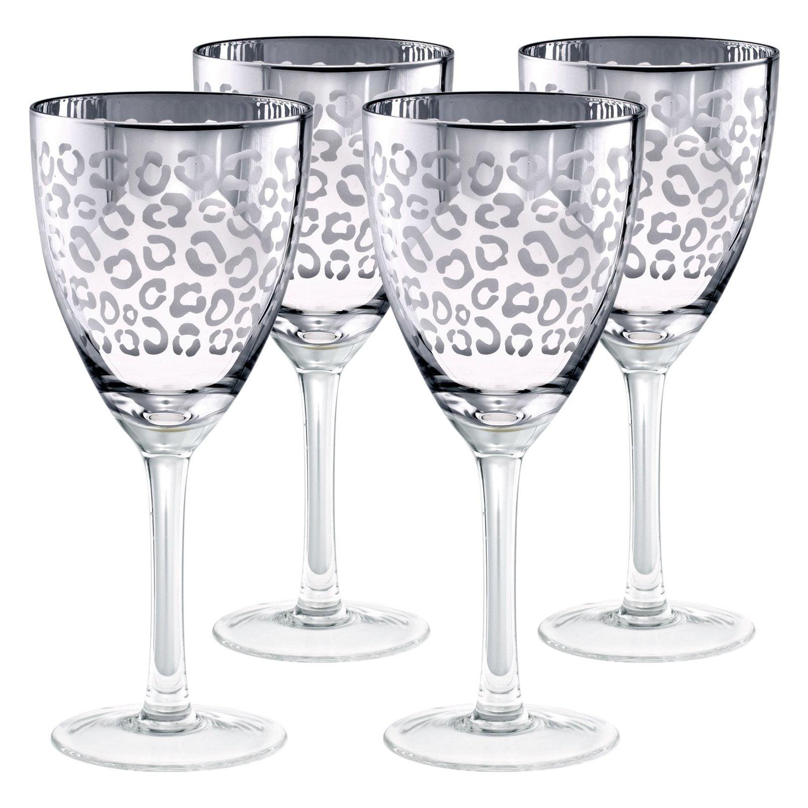 Artland Inc. Leopard Silver Wine Glasses Set of 4 by Artland
