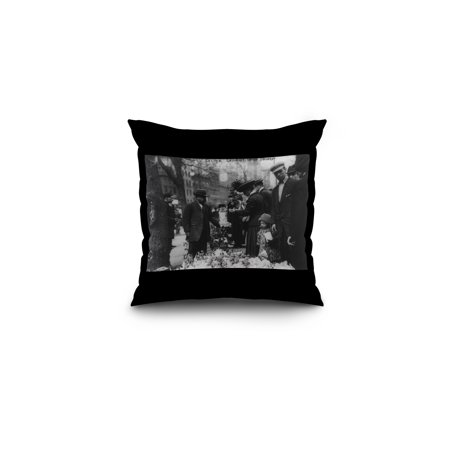 Man Selling Flowers on Easter Saturday Photograph (16x16 Spun Polyester Pillow, Black Border)