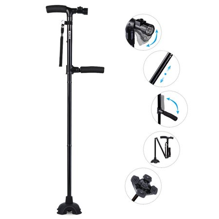 Folding Collapsible Travel Hiking Walking Stick with LED Light ,Cushion Handle Adjustable Folding Cane  for Men and Women