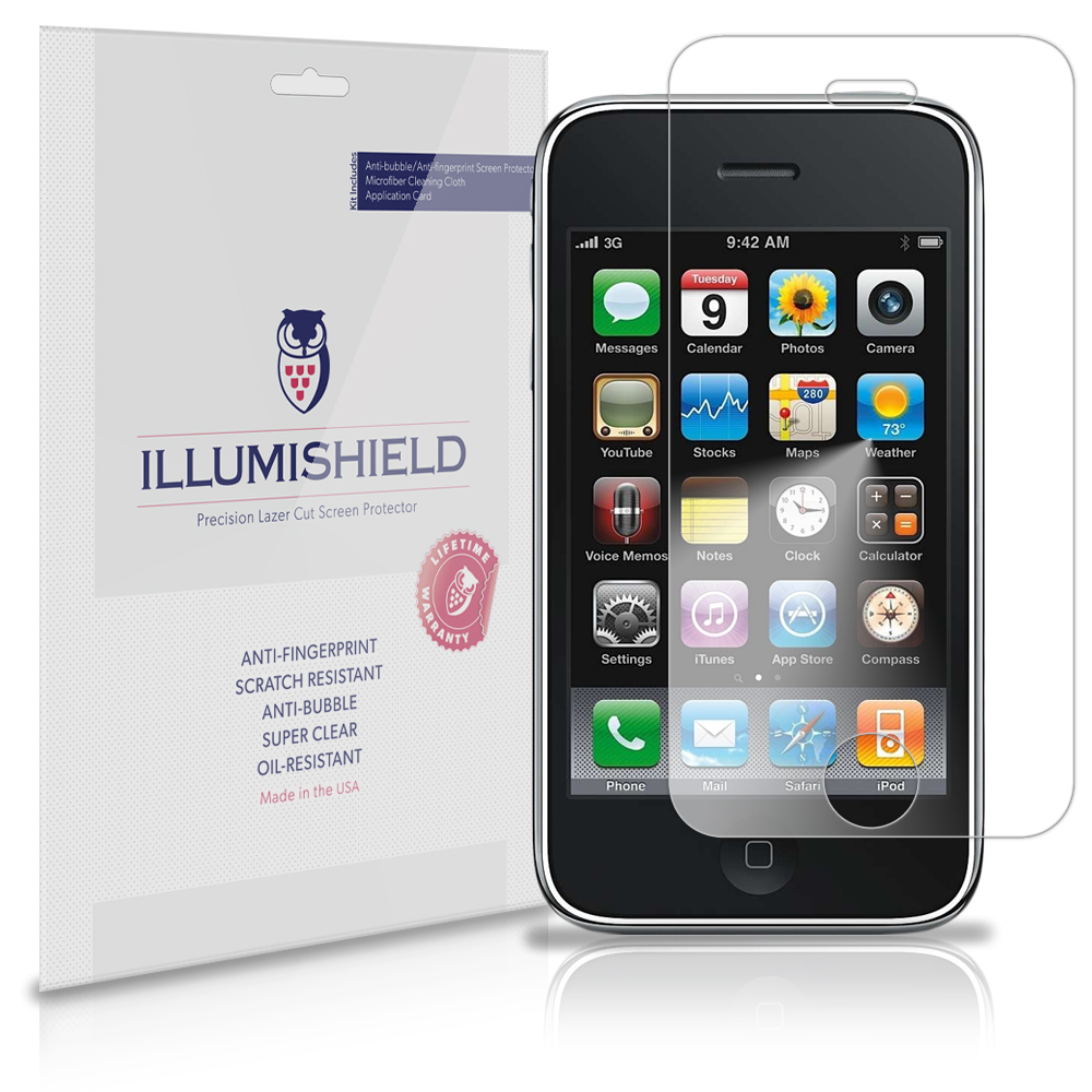 iLLumiShield Phone Screen Protector w Anti-Bubble/Print 3x for Apple iPhone 3GS