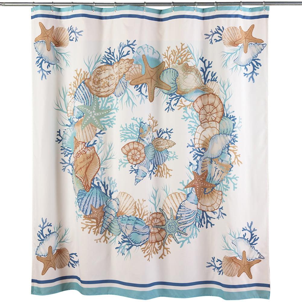 Collections Etc Seashell Shower Curtain, Beach Bathroom