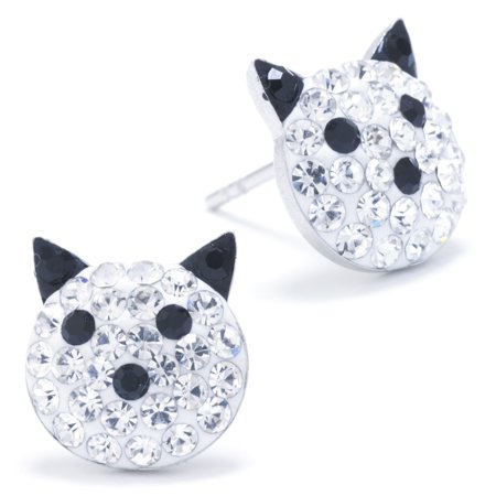 Sterling Silver Pave Crystal Cat Face Stud Earrings](Cat Ear Ring)