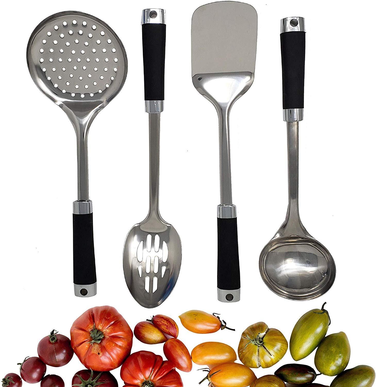 Buy Kitchen Utensil Set 4 Stainless Steel Silicone Cooking Utensils Skimmer Slotted Spoon Spatula Ladle Kitchen Gadgets Cookware Set Best Kitchen Tool Set Ever Online In Turkey 574633336