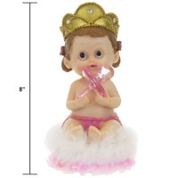 """Mega Favors Keepsake Figurine 8"""" Baby Girl Wearing Crown Holding Pink Pacifier 
