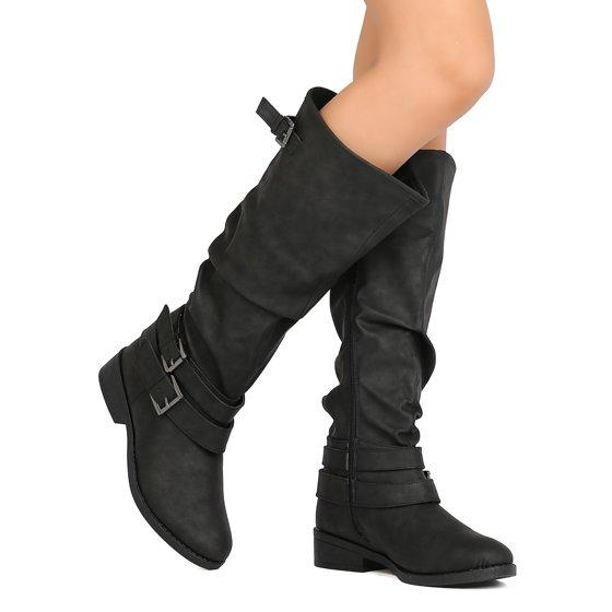 9fe2cb51ed4 Qupid FI96 Women Nubuck Knee High Buckle Riding Boot