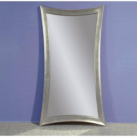 Bassett Leather Mirror (bassett mirror hour-glass shaped leaner mirror in silver leaf )