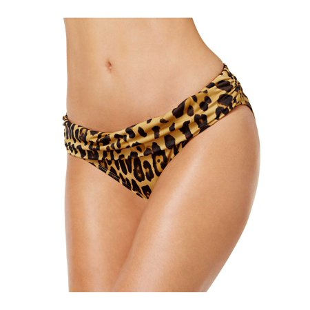 Ralph Lauren Leopard Print Foldover Bikini Bottom Brown Womens Swimsuit