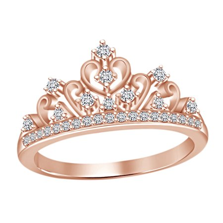 Round Cut White Cubic Zirconia Princess Crown Ring In 14k Rose Gold Over Sterling Silver