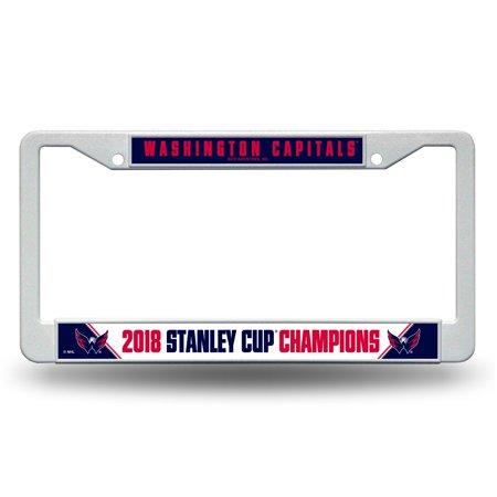 National Champions License Plate - Washington Capitals Official NHL 2018 National Champions License Plate Frame Plastic by Rico 390530