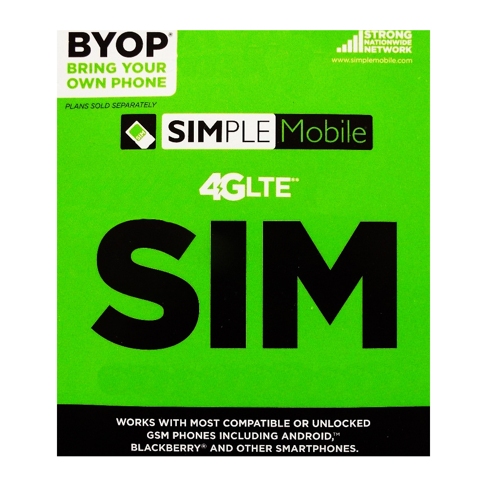 Simple Mobile Prepaid Sim Card Unlimited Calls & Text for...