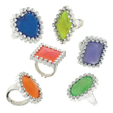 Plastic Gem Ring Party Favors, Assorted 24ct (Plastic Ring)