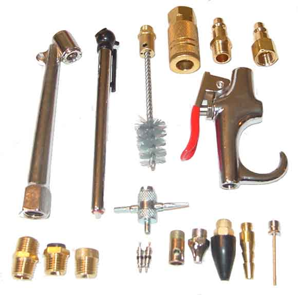 18 Piece Air Compressor Accessory Kit Chuck/Gauge/Blow Gun