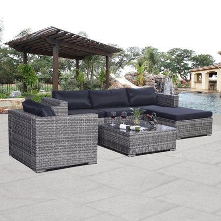Goplus Patio Sofset Rattan Couch Cushioned Gray