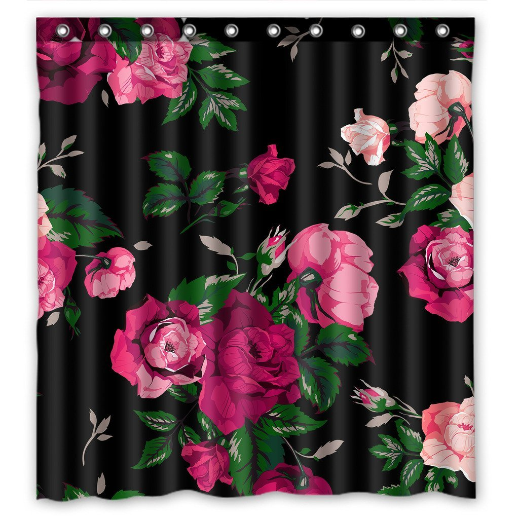 GCKG Red Rose Flower Pink Floral Waterproof Polyester Shower Curtain and Hooks Size 66x72 inches