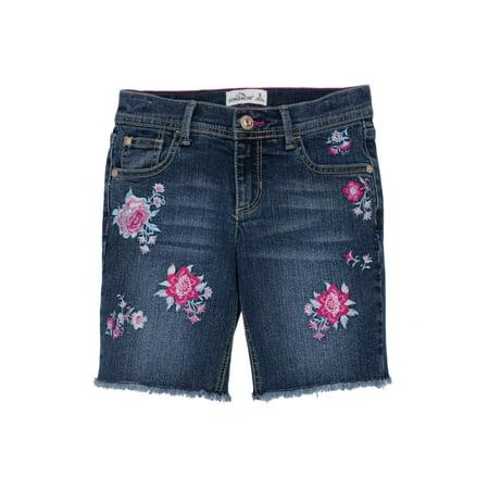 Embroidered Floral Denim Bermuda Short (Little Girls & Big Girls)