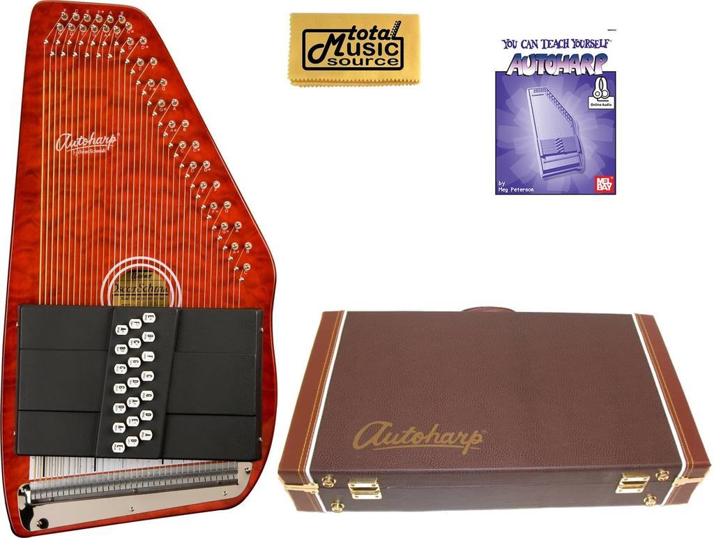 Oscar Schmidt 21 Chord Classic Autoharp Quilted Maple Top, Trans Red, OS21CQTR AC449PACK by Oscar Schmidt