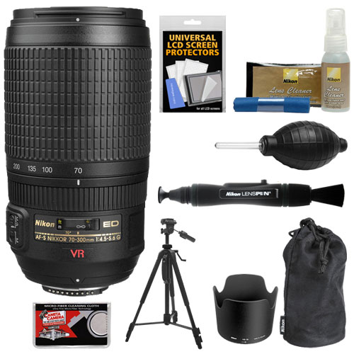 Nikon 70-300mm f/4.5-5.6G ED IF AF-S VR Digital SLR Zoom Lens with Tripod + Kit for D3200, D3300, D5300, D5500, D7100, D7200, D750, D810 Cameras
