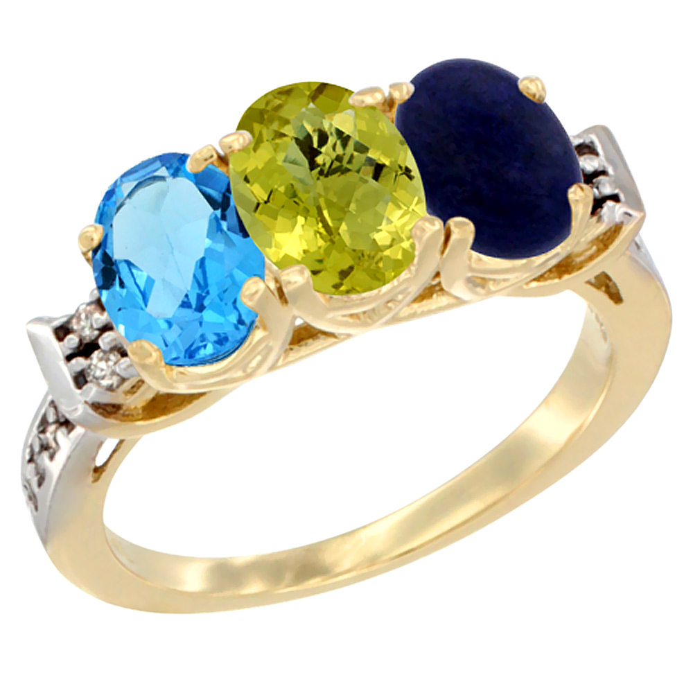 14K Yellow Gold Natural Swiss Blue Topaz, Lemon Quartz & Lapis Ring 3-Stone 7x5 mm Oval Diamond Accent, sizes 5 10 by WorldJewels