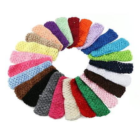 TINKSKY 50pcs Baby Girls Toddler Elastic Crochet Hairbands Headbands Hair Bands in 25 Different Colors (Crochet Girls Headband)