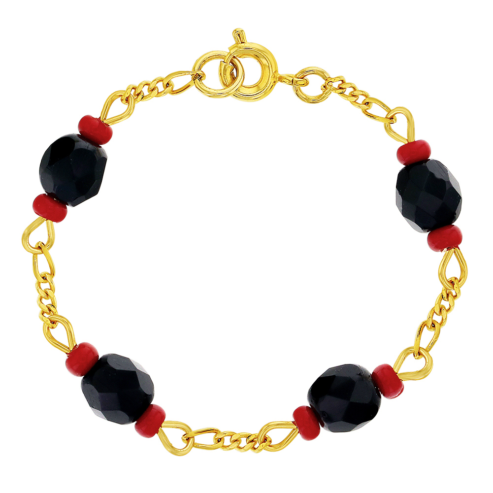 In Season Jewelry 14k Gold Plated Red Evil Eye Protection Good Luck Kids Bracelet 5.5