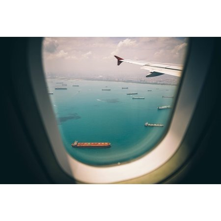 Framed Art for Your Wall Airline Travel Trip Airplane Sky Window Sea 10x13 - Airplane Frame