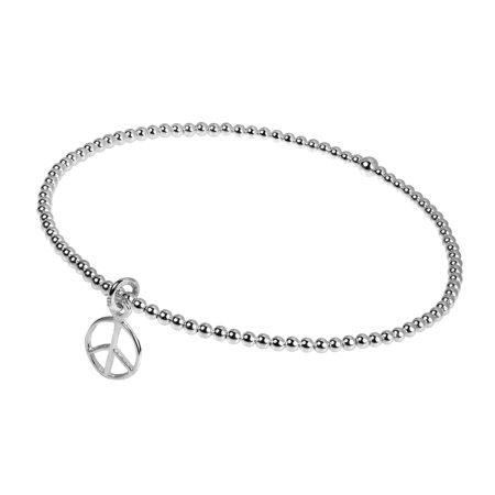 Peace Sign Bangle Elastic Sterling Silver Beads Stretch Bracelet