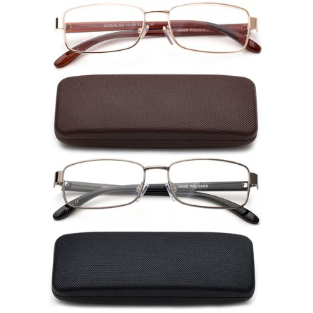 Newbee Fashion-High Quality Classic Full Frame Rectangular Reading Glasses Metal Frame for Men Women Reading Glasses with Case ()