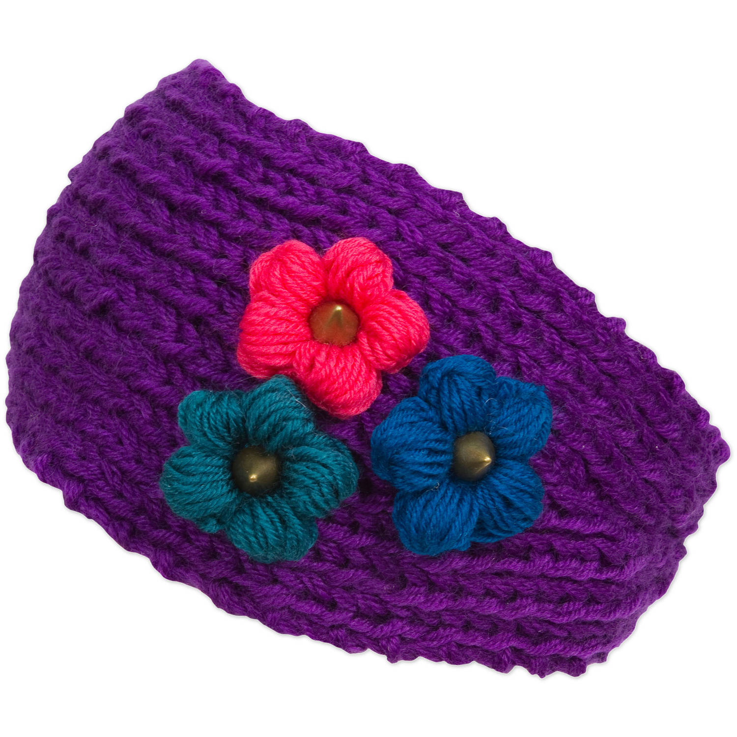 Magid Headwrap with Tri Color Flowers, Purple