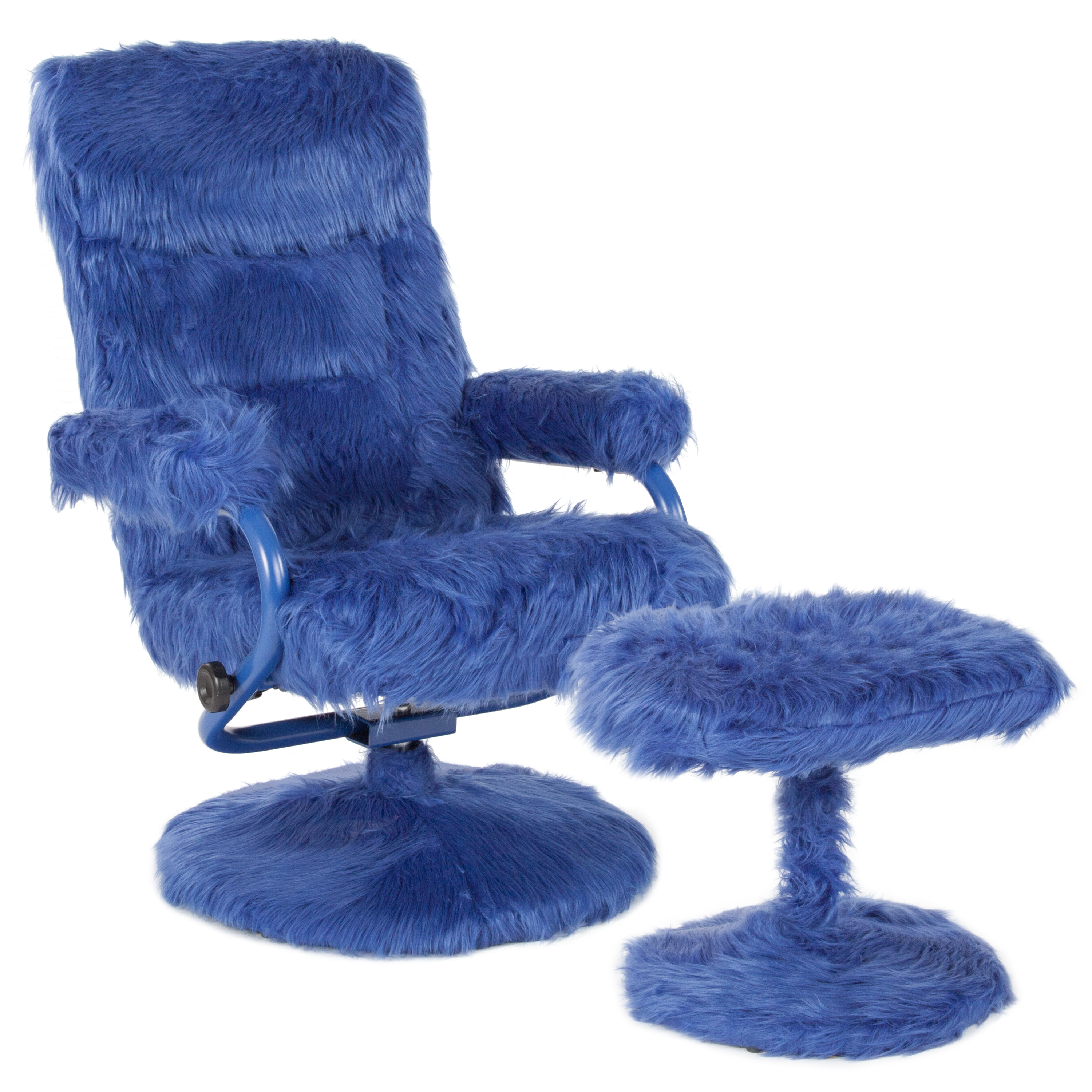 Flash Furniture Contemporary Faux Fur Swivel Recliner and Ottoman, Multiple Colors