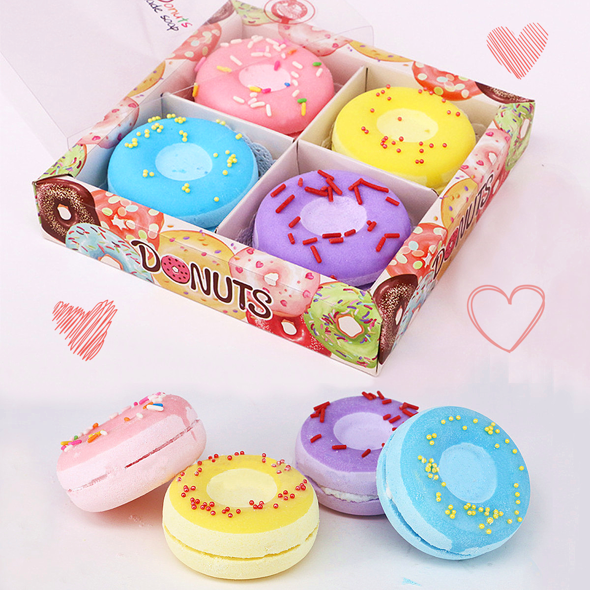 4Pcs/Box Donut Bath Bombs Fizzy Ball Moisturizes Skin Relieves Stress & Pain Assorted Scent Gift Sets