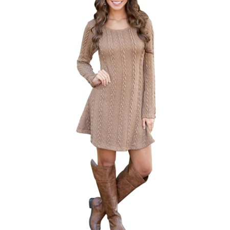 6ffbbe71de Sexy Dance - Womens Mini Dress Round Neck Knitted Sweater Long Sleeve Jumper  Pullover Tops Casual Party - Walmart.com