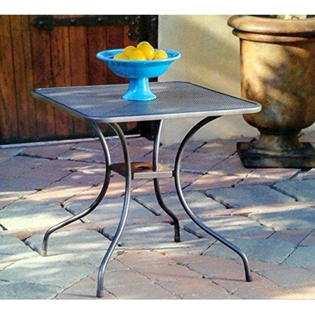 Micro Mesh Commercial Wrought Iron Square 28 Bistro Table With Center Hole For Umbrella Pole