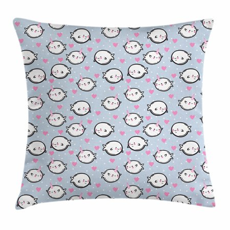 Narwhal Throw Pillow Cushion Cover, Cartoon Styled Cute Whales with Polka Dots and Hearts Background Doodle Design, Decorative Square Accent Pillow Case, 18 X 18 Inches, Multicolor, by Ambesonne (Polka Dots Background)