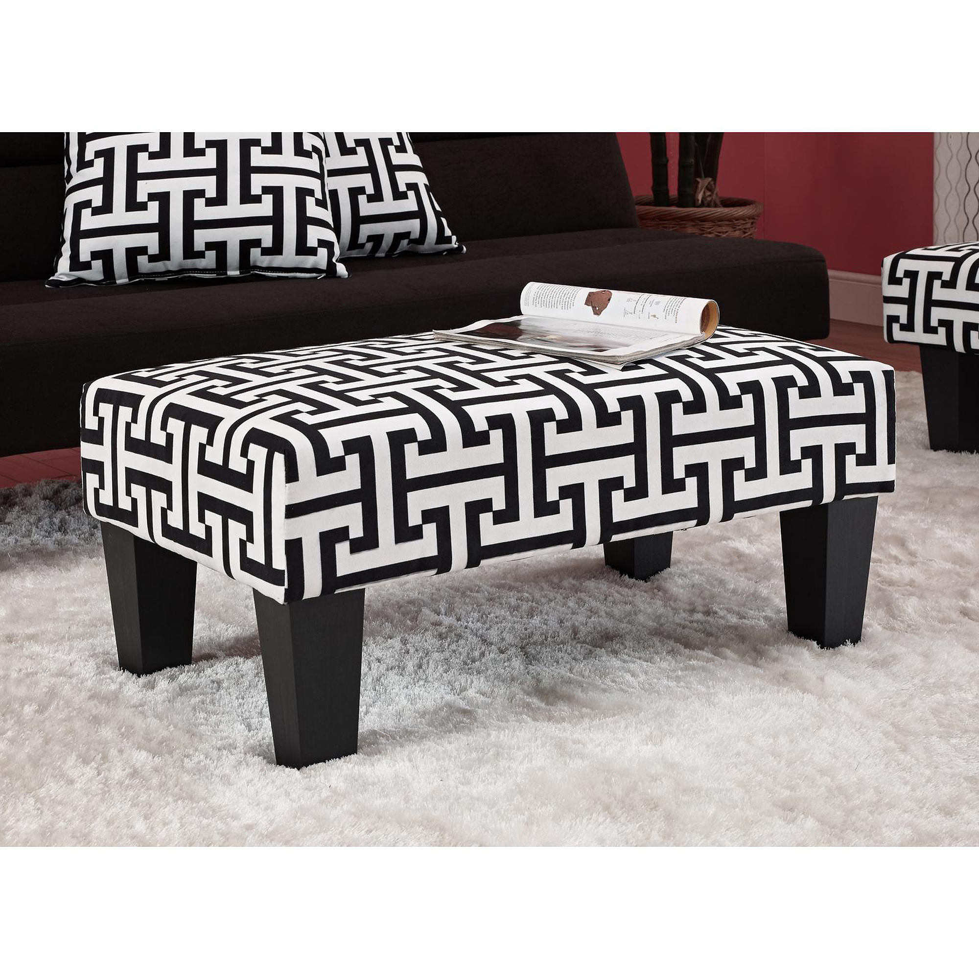 Kebo Ottoman, Black and White Pattern