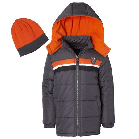 Hooded Chest Stripe Puffer Jacket Coat with Free Hat, 2pc Set (Toddler Boys)