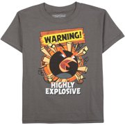 Charcoal Warning Explosive Boys Graphic Tee