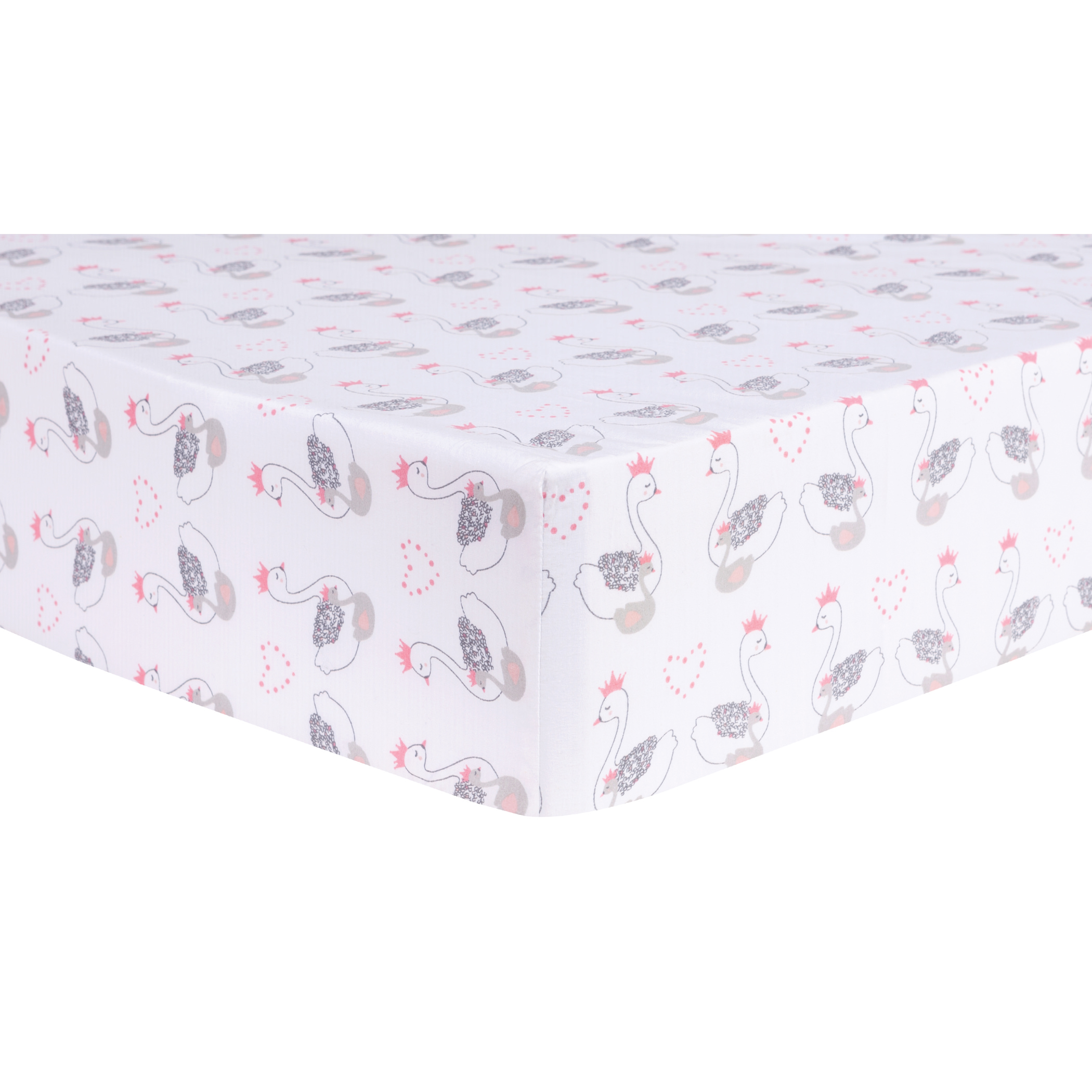Swans Fitted Crib Sheet