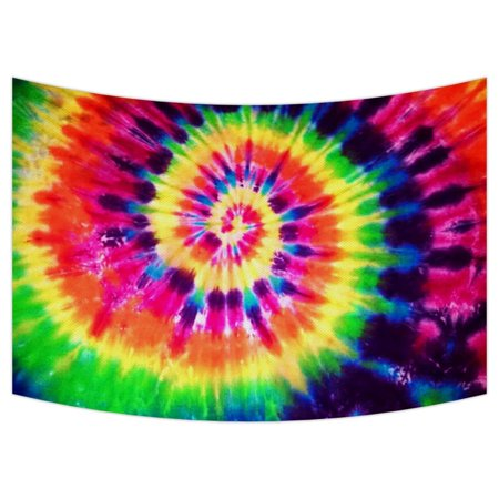 GCKG Colorful Tie Dye Tapestry,Colorful Tie Dye Wall Hanging Wall Decor Art for Living Room Bedroom Dorm Cotton Linen Decoration Size 90x60 inches