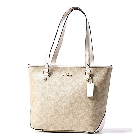 4db0cb82 Coach Signature PVC Zip Top Tote F58294 Light Khaki/Chalk