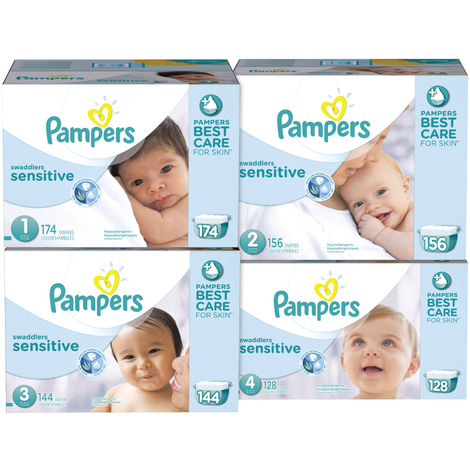 Pampers Swaddlers Sensitive Diapers Economy Pack Plus, (Choose Your Size)