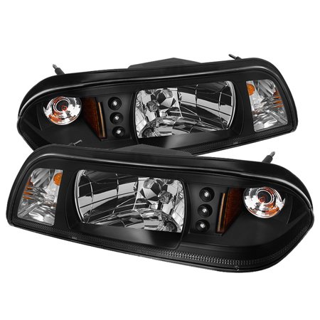 Fits 87-93 Mustang 6In1 Black Crystal LED Headlights W/Corner+Parking Lamps Set