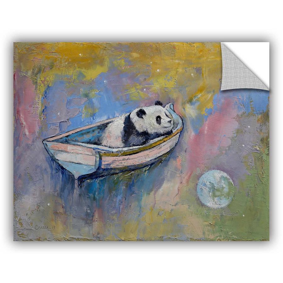 """ArtWall Michael Creese """"Panda Moon"""" Art Appeals Removable Wall Art"""