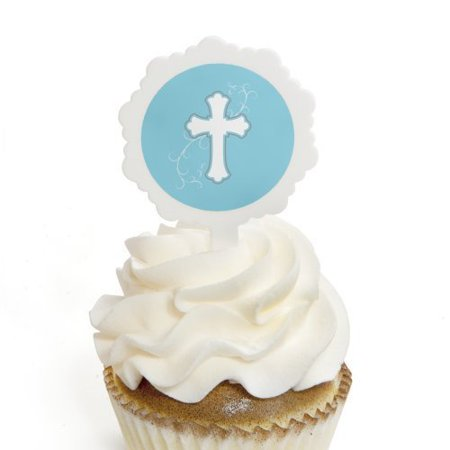 Little Miracle Boy Blue & Gray Cross - Cupcake Picks with Stickers - Baptism Cupcake Toppers - 12 Count (Baptism Cupcake Toppers)