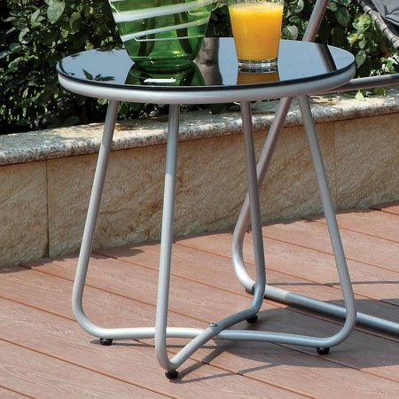 Furniture of America  Haven Contemporary Glass Top Grey Outdoor Round Side Table