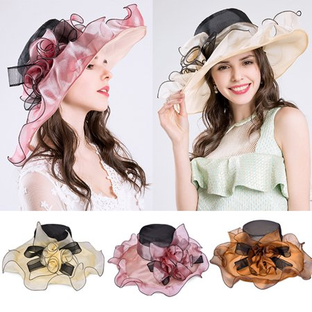 Large Brim Organza hat-Vbiger Womens Large Brim Organza Hat Kentucky Derby Organza Floral Ruffles Wide Large Brim Tea Party Wedding Sun Hat Beach Sunbonnet - Wholesale Derby Hats
