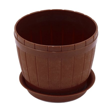 Unique Bargains Yard Garden Plastic Bucket Designed Flower Plant Pot Holder Decor Coffee Color ()