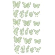 Family Plastic Butterfly Designed Wall Door Sticker Decal Green Yellow 24 in 1
